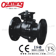 2PC Carbon Steel Flange Ball Valve with High Mouting Pad (WCB)