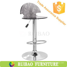 Old Fashioned Transparent Acrylic Leisure Pub Bar Chair with Adjustable Metal Table Base