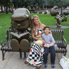 Vente chaude jardin décoration métal artisanat bronze snoopy sculpture