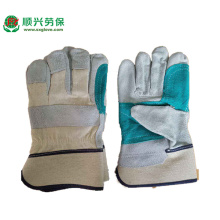 Green  Leather Double Palm Work Gloves