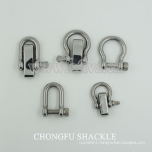 stainless steel D ring bow shackle for sales