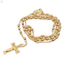 Jesus-Edelstahl-lange Art-Strickjacke-Ketten-Religions-Goldkatholische Rosenkranz-Halskette