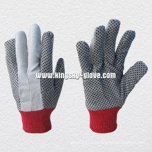 ПВХ Пунктирной хлопка сверла работая перчатка-2205