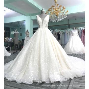 Vestido de novia brillante v-cuello atractivo sin respaldo vestido de novia 2017 DY031