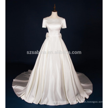2017 shiny satin bow short sleeves long train wedding dress with real pictures