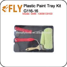 Black Plastic Paint Tray Set