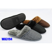 Men's Fashion Grid Mesh Binding Indoor Slippers Plush Collar