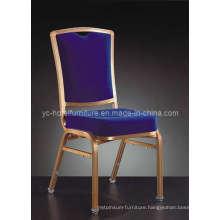Golden Aluminum Frame Blue Fabric Hotel Chair (YC-C67)