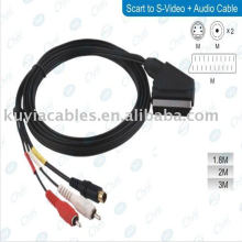 scart to rca adapter cable for connecting DVD players, satellite and cable boxes, LCD's, projectors, Plasma displays