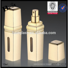 botella de cristal real del perfume del aluminio 5ml del oro, botella de cristal del perfume del rociador del atomizador 5ml