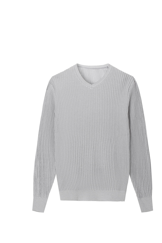 Men's Knitted Pullover Slim Knitwear Vneckline Stripe