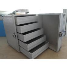 Aluminium Aufbewahrungskoffer klein mit Schubladen und Rädern für das Handwerk