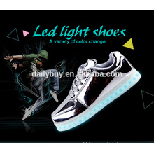 Unisex girls boys USB charging light flashing silver LED running shoes