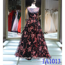 1A1013 Black & Red Flower Paints Sleeveless Back V-Open Prom Dress Evening Dress New Design 2016