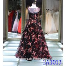 1A1013 черный и рисует Красный цветок без рукавов назад V-открытые платье вечернее платье новый дизайн 2016
