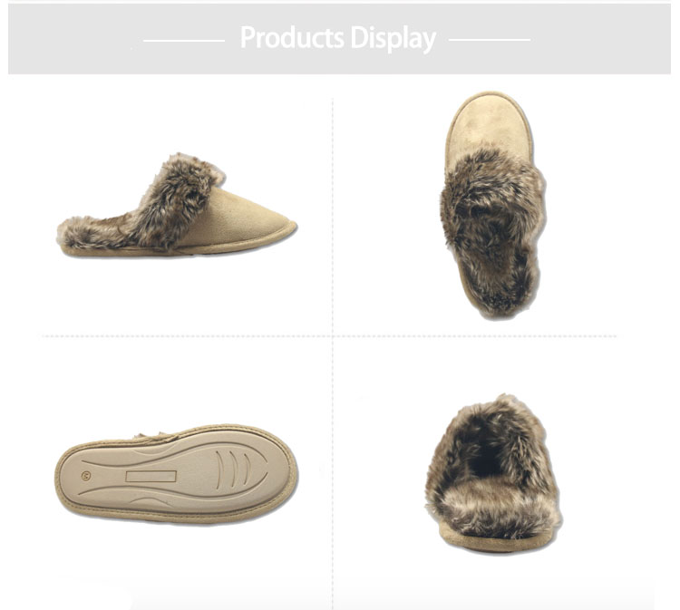 brown warm winter house slippers for ladies