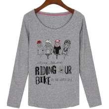 Em torno do pescoço moda impresso manga comprida menina camiseta