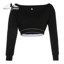 Diferentes modelos de blusas sexy para mujer con cuello en V negro