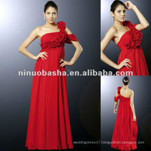 Floor length empire skirt with flower one-shoulder celebrity red carpet dress