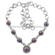 Purple Copper Turquoise Gemstone 925 Solid Silver Necklace Jewelry