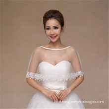 Women fashion pretty concise white wedding dress lace appliques white lace shawl