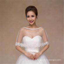 Женщин моды довольно лаконичное белое свадебное платье кружева аппликации белый кружево шаль