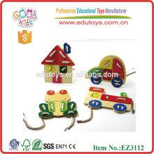 2015 Neues Design Tier Schnürung Spielzeug, Klassisches Holz Schnürung Spielzeug, Bunte Schnürung Spielzeug