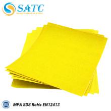 Feuille de papier abrasif de couleur jaune de SATC avec la qualité et le bon prix