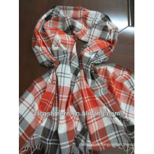 mercerized wool and silk check worsted woven scarf