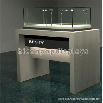 Kundenspezifische Markenname-Fußboden-stehende Ecken-Beleuchtung-Holz-Protokoll-Glasschmucksache-Anzeigen-Tabellen-Luxus