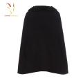 Poncho de malha de lã com capuz moda feminina