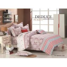 Atacado Bright cor listra completa algodão tecido adulto cama conjunto