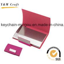 Titular de cartão de visita de couro genuíno personalizado de aço inoxidável (M05051)