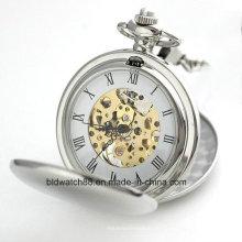 Reloj de bolsillo esquelético mecánico de la venta caliente con la cadena