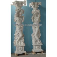 Pedra mármore coluna coluna romana para decoração (QCM135)