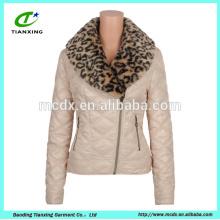 2016 новый стиль на заказ Леопард воротник куртки