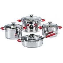 Cookware Set With Red Silicone Heat Resistant Handles
