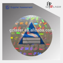 Flip flop hologram car inspection sticker with green printing