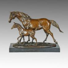 Животная бронзовая скульптура Мать-сын Лошадь, шагающая по латунной статуе, Milo Tpal-257