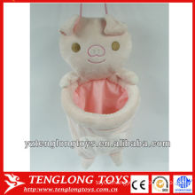 New design cute pig plush animal bag holder for house cleaning
