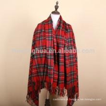 100% lã joga manta de tartan britânico
