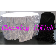 charming ruffled satin chair cover and table cloth for wedding