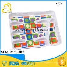 bandeja de cocina de melamina de impresión personalizada bandeja de cubiertos de plástico