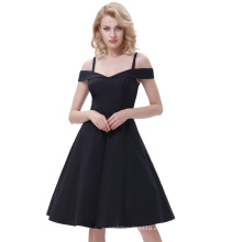 Belle Poque Correas de espagueti Alto Stretchy A-Line negro Retro Vintage Swing vestido BP000390-1