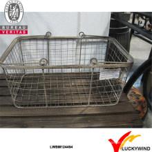 Rústico alças duplas Metal Handmade Decorative Wire Basket