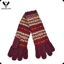 Женщины Мода Custom Жаккард Вязаные Зимние длинные перчатки