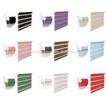 Nuevo color del arco iris de las cortinas de la cebra de la cadena del grano de la capa doble de la manera