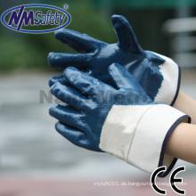 NMSAFETY Sicherheitsausrüstung blauer Nitrilöl beständiger Hochleistungsarbeitshandschuh CE EN388 4111