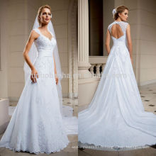 New Arrival 2014 V-Neck Keyhole Back Lace Applique perlé Long A-Line Église robe de mariée robe de mariée avec courroies à roulettes NB0803