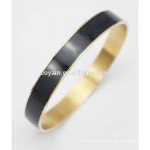 Acero inoxidable con brazaletes de esmalte negro redondo relleno de oro de 18k